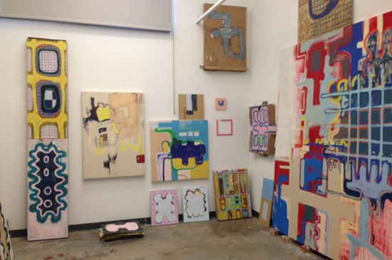 Interior of studio with works in progress. Photograph courtesy of Jay Hendrick.