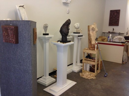 Finished pieces and a work in progress in Maroulla's studio.  Photo by Eric Hope for East City Art.