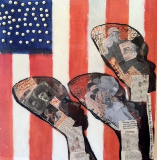 """The Americans IV"" mixed media by Cheryl Edwards."