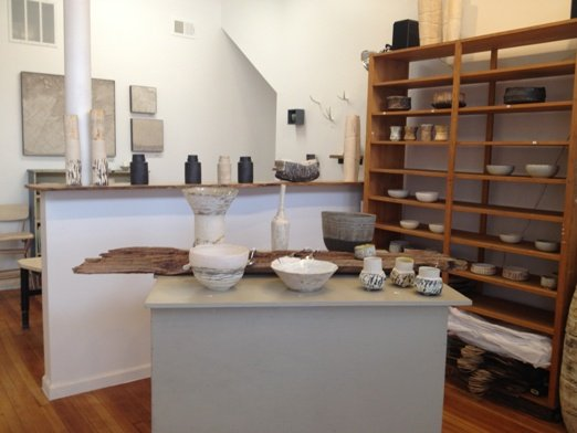 Finished ceramics on display in the studio's gallery.  Photo courtesy of Ani Kasten.