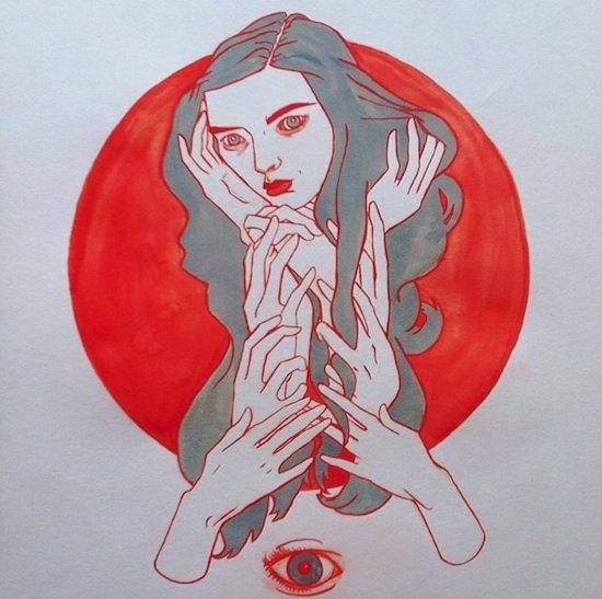 Melancholy Bliss I, 2013, by Jessika Dene Tarr, gouache and ink. Courtesy of Catalyst Projects from Identimorph – Identity Portraits.