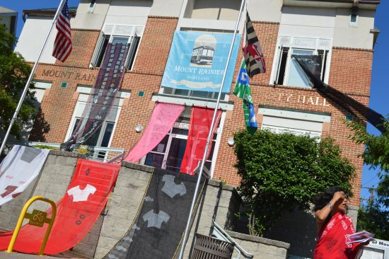 City Hall draped in saris for Bus Stop Bangladesh.  Photo courtesy of Art Lives Here.