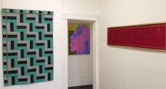 From left: Untitled Quilt, Frederick Nunley Taste, Tom Hill Apostles, John Thomas Paradiso. Photo by Eric Hope for East City Art.