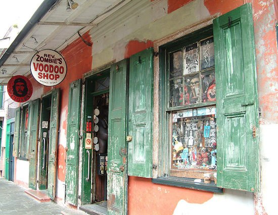 """French Quarter, New Orleans. Cigar shop and """"Rev. Zombie's Voodoo Shop."""" Photo courtesy of Wikimedia Commons."""