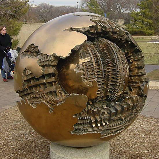 Sphere within a Sphere sculpture by Arnaldo Pomodoro.