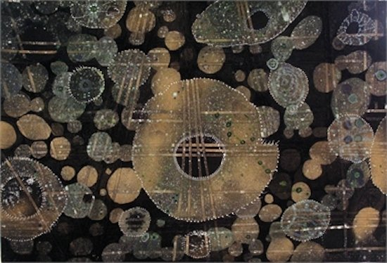 """Evolution, Life Origins - 2009, #18"" Mixed Media paper, 24""x36"", by Lucinda F. Murphy."