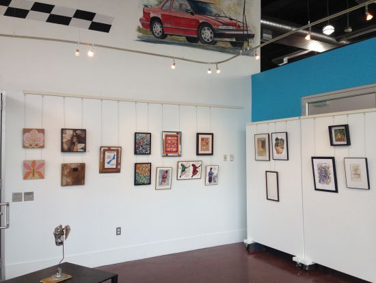 artdc Gallery showcasing their annual 16x16 exhibition.  Artists include Claudia Olivos, Natalya B. Parris, Roy Utley, Jennifer Pizzillo and Julie Clark.  Photo by Eric Hope for East City Art.