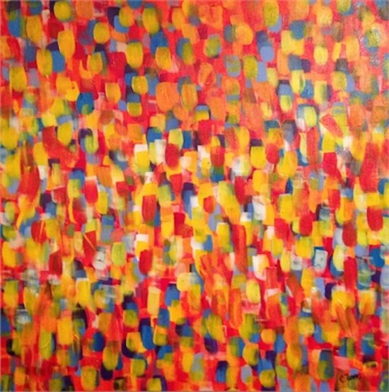 """Untitled, mixed media on canvas, diptych (2) 12""""x48"""" by Charlie Jones."""