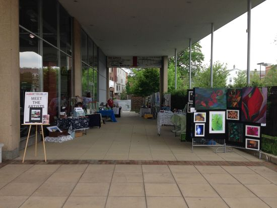 Hyattsville Community Arts Alliance sets up at artdc gallery.  Photo by Eric Hope for East City Art.