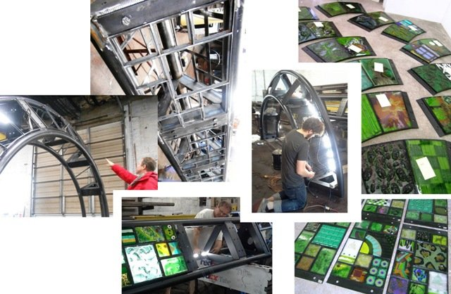 Artist Erwin Timmers oversaw the structural integration of support framework, LED lighting and glass panel insets.