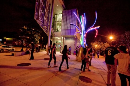 Shaw Library at past Art All Night festival. Photo credit: Dakota Fine.
