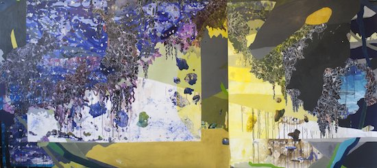 Dripstone, 2014, acrylic, collage and sumi ink on paper, 60 x 133″ by Katherine Tzu-Lan Mann. Courtesy of Project 4 Gallery.