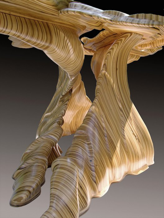 """Detail of the """"Mitosis"""" table by David Knoop. Courtesy of Joan Hisoaka Gallery."""