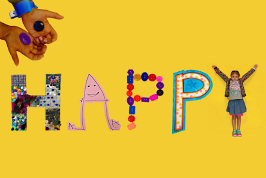 """HAPPY, """"H"""" by kids in the program at PSV of Northern Virginia, """"A"""" by a kid at Methodist Children's Hospital in San Antonio,TX, both """"P's"""" by kids at Children's National Medical Center, and the """"Y"""" by a kid from the Lombardi Center program, digital collage, 2014."""