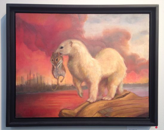 "Polar Weasel, 2013. Oil on linen; 11 x 14"" Photo by Eric Hope for East City Art."
