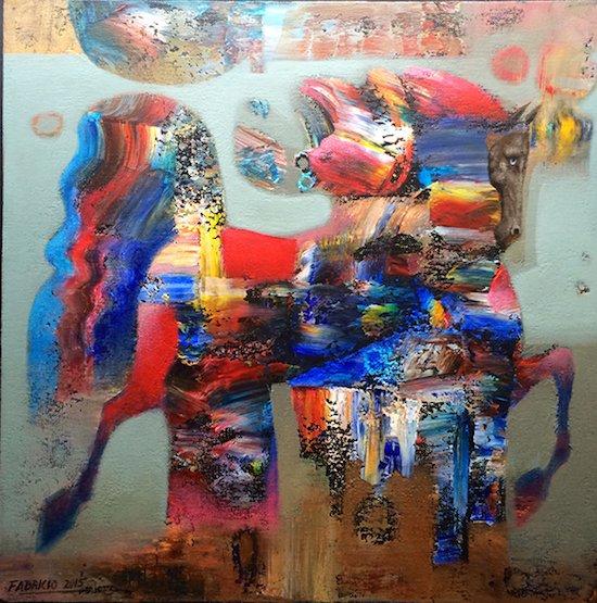 Pleiades V by Fabricio Lara, 2015 acrylic on canvas. Courtesy of All We Art.