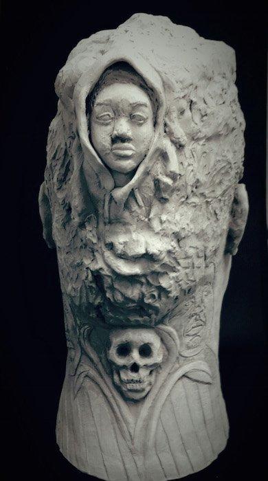 Janathel Shaw, Future Deferred, copyright 2015, stoneware (back). Courtesy of Touchstone Gallery.