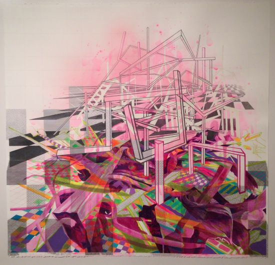 """Nikki Painter Surge, 2013 Collage, gouache, watercolor, ink, colored pencil, pencil and pen on paper, 26 1/2"""" x 27 1/2"""" Courtesy of the artist and Civilian Art Projects. Photo by Eric Hope for East City Art. Collage"""