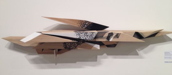 """Hsin-Hsi Chen Revealment, 2014 Pencil, gesso and wood, 11"""" x 39"""" x 5 1/2"""" Courtesy of the Artist Photo by Eric Hope for East City Art."""