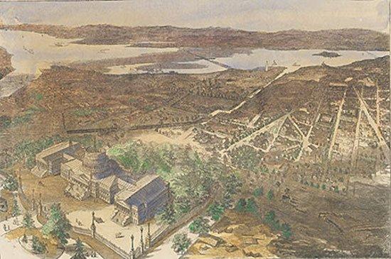 "Photo credit: ""Balloon View of Washington, 1861,"" photograph courtesy Collection of the U.S. House of Representatives, Washington, D.C."