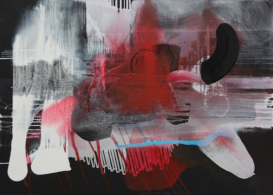 """Maggie Michael, Black Under Blue Before, During and After the Rotation of Horses, 2013, gesso, ink, enamel, and spray paint on canvas, 50 x 70"""" 127 x 178 cm. Courtesy of G Fine Art."""