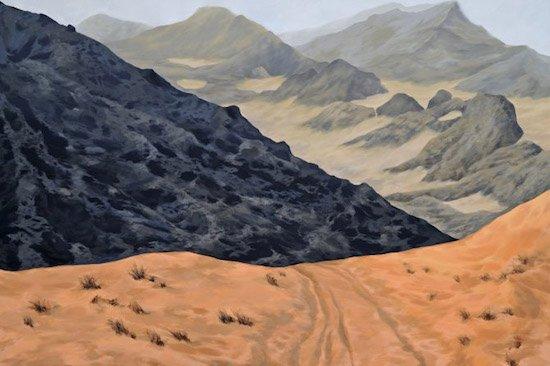 "Freya Grand, Edge of Cafema, oil on canvas, 48"" x 72"". Courtesy of Gallery plan b."