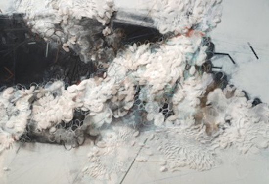Jowita Wyszomirska, Untitled, 2013, Mylar, charcoal, conte, paint, pins on wall, approx.12x40 feet. Courtesy of VisArts.