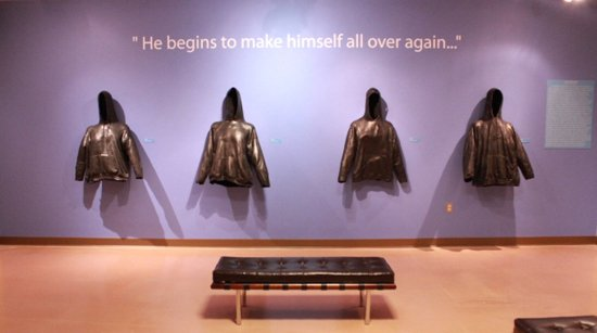 Powerful-- Dixon's sculptural disembodied hoodies eerily haunt the gallery space.  Image courtesy of the Prince George's African American Museum and Cultural Center.