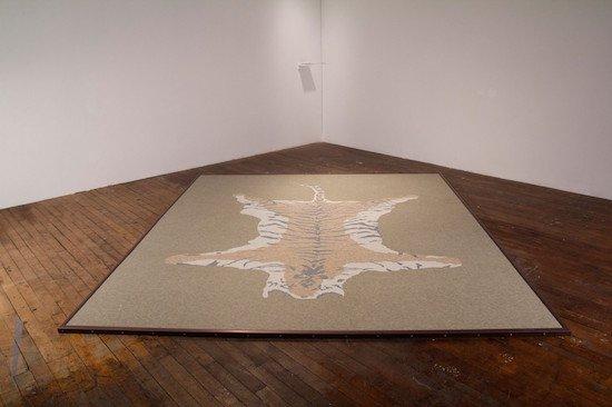 Tiger Tiles (Survivor) vinyl composition tiles (VTC), plywood, aluminum, 1.125 x 96 x 108in, 2012. Courtesy of Hamiltonian Gallery.