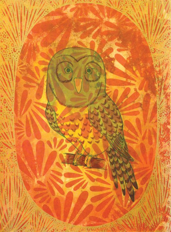 Beth Hanson, Night Parrot, 2015, Screenprint with wax and oil pigment.  Courtesy Pleasant Plains Workshop.