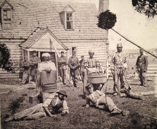 Group of Contrabands at Allen's Farm House Near Williamsburg Road, Yorktown, Virginia, 1862. Library of Congress Prints and Photographs Division. Credit it as follows:  Photograph reproduction by Eric Hope for East City Art.