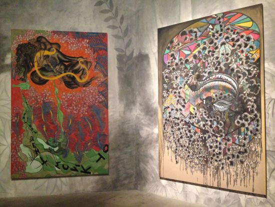 Recent works by British artist Chris Ofili.  Photo for East City Art by Eric Hope.