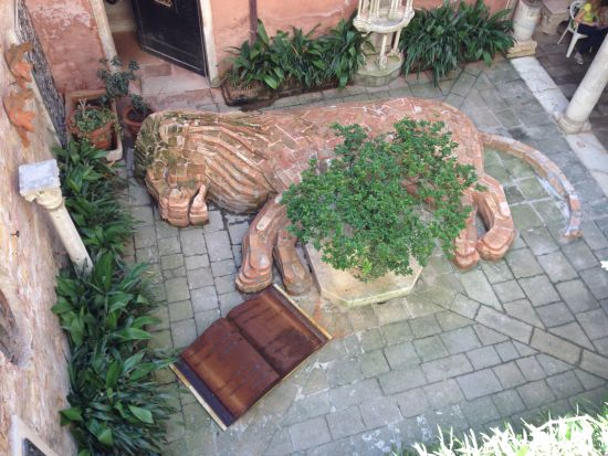 The lion of Venice, reborn in the courtyard of the Palazzo Barbero. Photo for East City Art by Eric Hope.