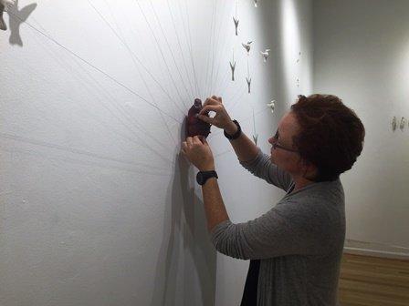 Novie Trump installing at Hillyer Arts Center