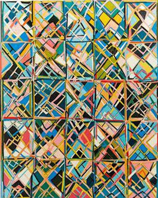 Double Vision, 2015,  acrylic on cut canvas, 50 x 40 inches, by Erin Curtis. Courtesy of Flashpoint Gallery.