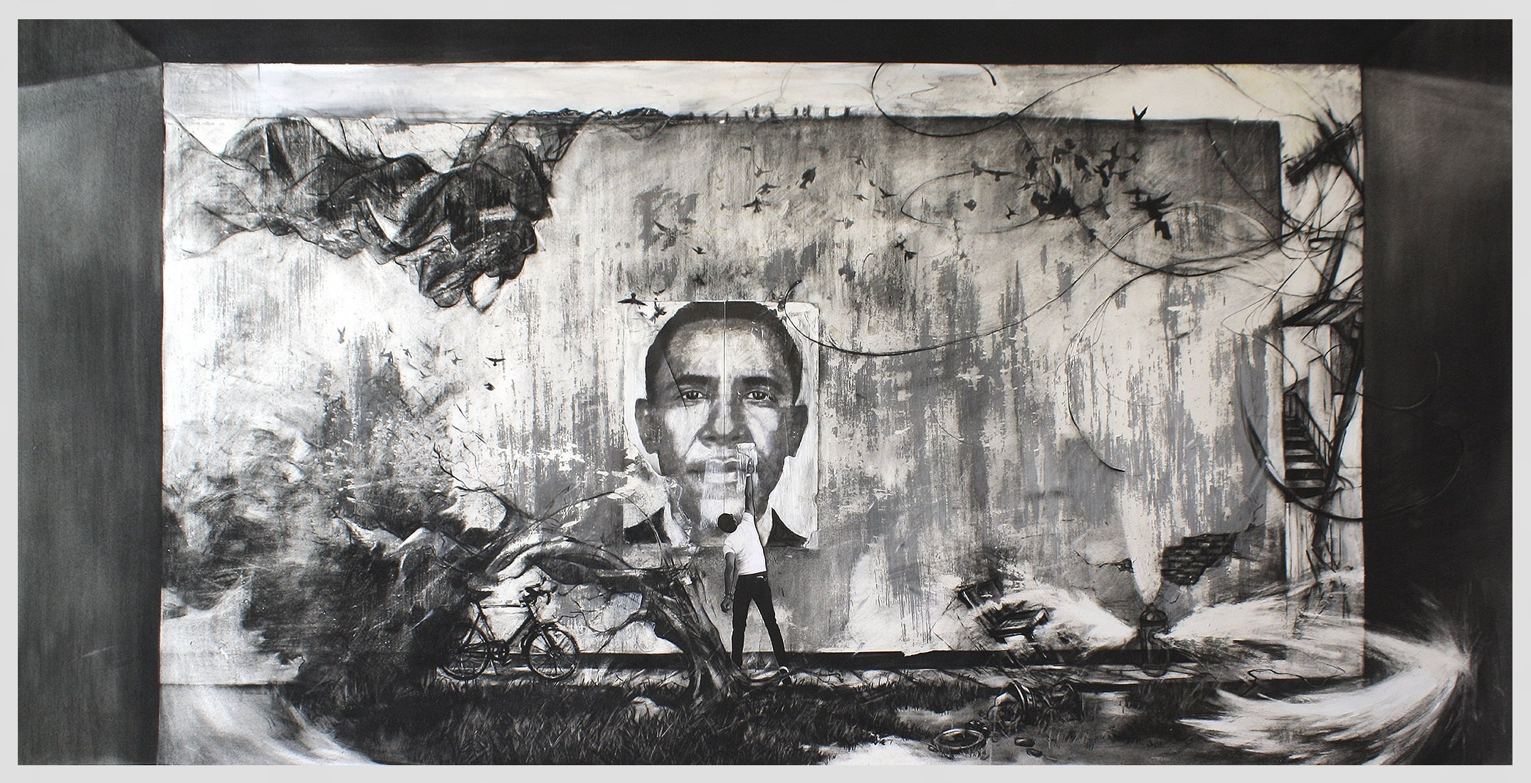 """McKinley Wallace III, Ambition, (2012), 42"""" x 65"""", Charcoal, Oil and Gesso on Paper. Image courtesy of the artist."""