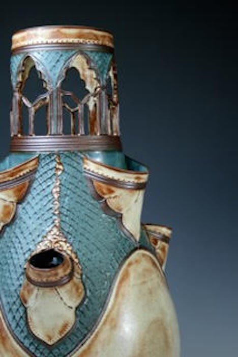 Kate Westfall, Tulipiere, Thrown and Altered Stoneware, 21 x 10.5 x 10.5 inches. Courtesy of VisArts.