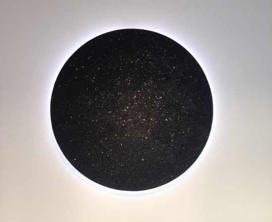 """Black Hole,2016 Jefferson Pinder Glitter, black ink, and white neon; 46"""" x 46"""" x 3"""" Photo for East City Art by Eric Hope."""