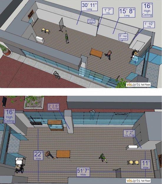 Gibbs Street Gallery floor plan. Courtesy of VisArts.