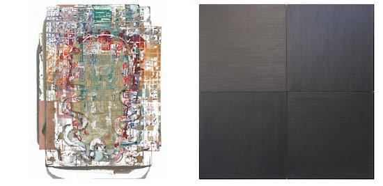 "Jay Hendrick Four Erased Paintings digital print, 25x19"" 2015. Joseph Shetler Untitled graphite on paper, four panels 40x40"" each, 2015. Courtesy of Otis Street Arts Project."