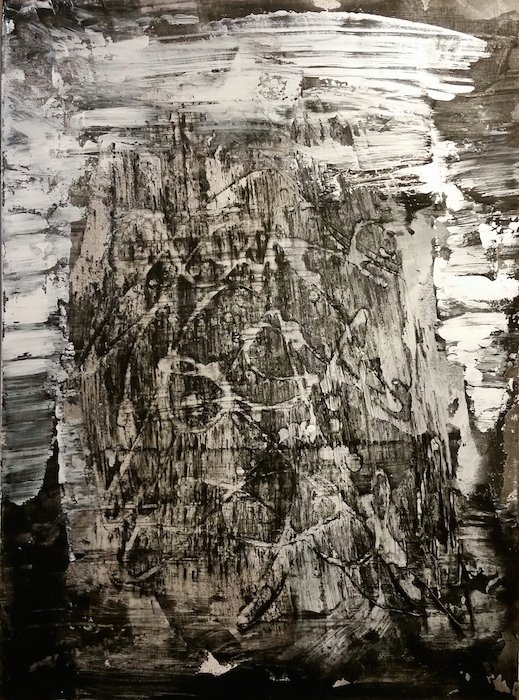 """High Mountain Pass, torn paper, acrylic, powdered graphite, acrylic medium on canvas, 22"""" x 30"""" 2012-2016, by Wayson R. Jones. Courtesy of the artist."""