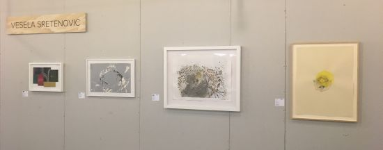 Works by (from left) Julie Wolfe, Soledad Salame, Ellington Robinson and Beverly Ress play off each others' abstract forms. Photo for East City Art by Eric Hope.