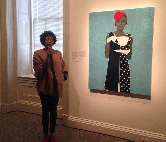 Baltimore artist Amy Sherald speaking in front of her winning painting Miss Everything (Unsuppressed Deliverance). Photo for East City Art by Eric Hope.