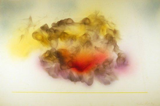 "Rockne Krebs, Untitled, 9/73, 1973, candle smoke, airbrush on paper, 19 3/4"" x 29 3/4"", Art © Estate of Rockne Krebs/Licensed by VAGA, New York, NY/ HEMPHILL Fine Arts"