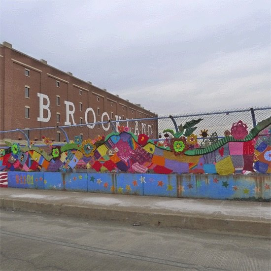 """Brookland """"yarn bombing"""" by Leda Black and Marcelle Fozard. Photo by Phil Hutinet for East City Art."""