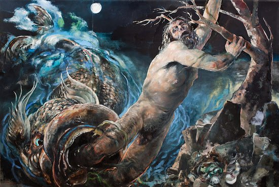 Jonah and the Big Fish - oil on panel - 8' X 12' - 2000 by Edward Knippers. Courtesy of he Gallery at Convergence.