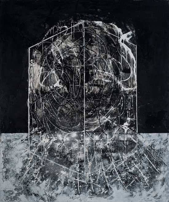 """Roots in the Community, pumice, acrylic, powdered graphite, acrylic medium, marker on canvas, 60"""" x 72"""" by Wayson R. Jones. Courtesy of the artist."""