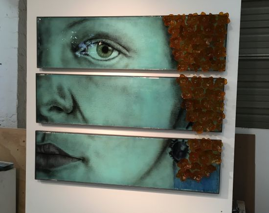 This striking triptych by Michael Janis features multiple layers of glass fused together in an almost painterly fashion.
