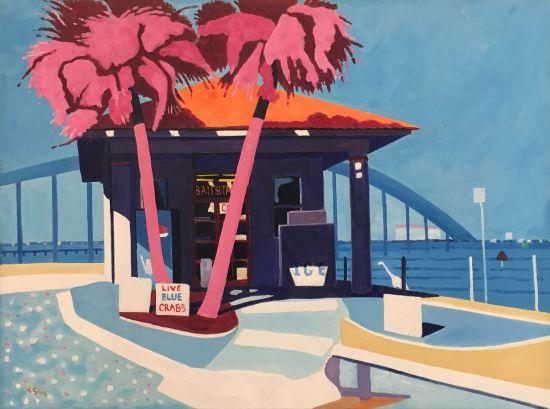 Bait & Tackle, Ormond Beach, Florida Lesley Giles Oil on Canvas Photo for East City Art by Eric Hope.