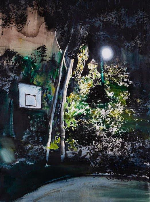 "William Mackinnon, Aimless Arrow, 47""x35"", acrylic, oil and enamel on canvas. Courtesy of Morton Fine Art."